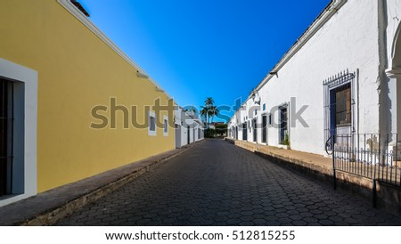 Typical street in the Spanish Colonial town of Alamos, Sonora, Mexico