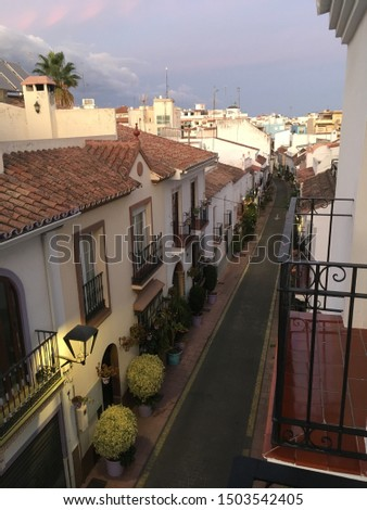 Typical street of Estepona with its colorful pots