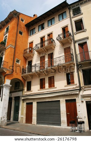 Typical street of old european town (Vicenza, Italy)