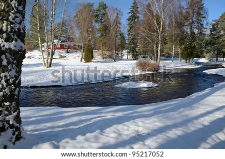 Typical Swedish winter landscape - stock photo