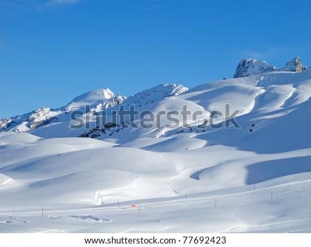 Typical swiss winter season landscape. Melchsee-Frutt, Switzerland.