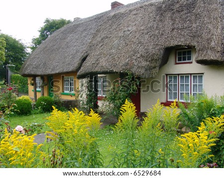 Typical Thatched Roof Cottage in Ireland #6529684