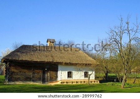Typical thatched roof house in Ukraine
