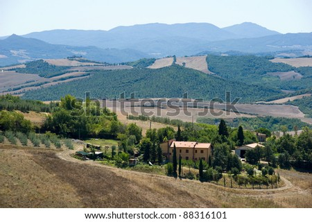 Typical Tuscany landscape in the summer in Italy.