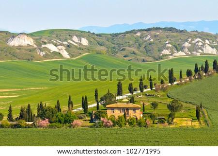 Typical Tuscany landscape view with villa (Crete Senesi region near Siena)