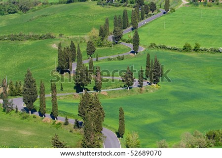 Typical Tuscany landscape with curvy road, rolled hills and many cypress.
