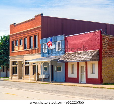 Typical USA main street small town downtown commercial business building storefronts
