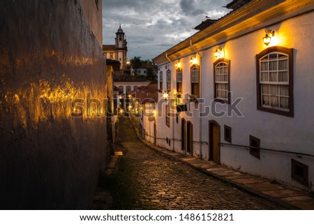 Typical view in historical city of Ouro Preto, Minas Gerais, Brazil.