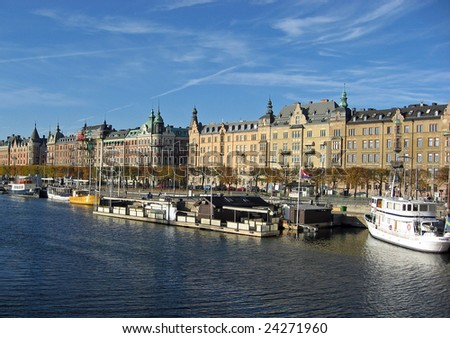 Typical view of Stockholm, capital of Sweden.