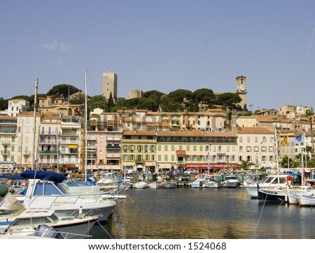 Typical view of the city of Cannes, French Riviera, Cote d'azure: the ancient city and seaport - stock photo