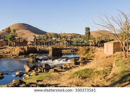 Typical village of Malagasy highlands near Ampefy, Madagascar
