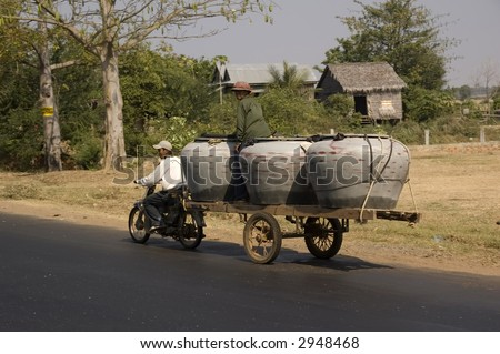 Typical water transportation in Cambodia
