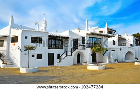 typical whitewashed houses in Binibeca, Menorca, Balearic Islands, Spain