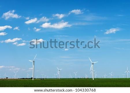 Typical wind turbine farm