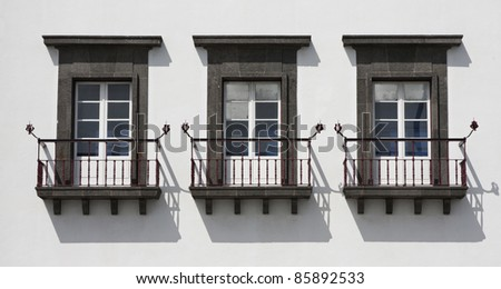 Typical windows with balcony of Azores, Portugal.