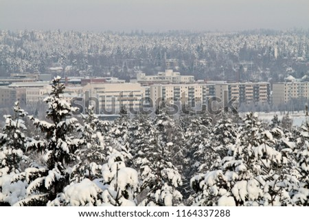 Typical wintry cityscape in Finland #1164337288