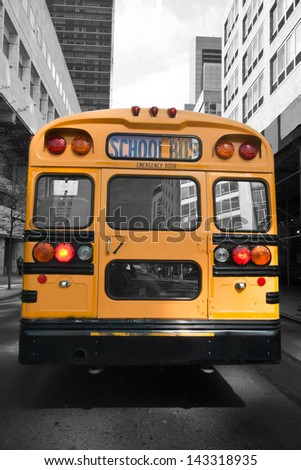 Typical yellow New York style school bus at New York City, USA, United States of America