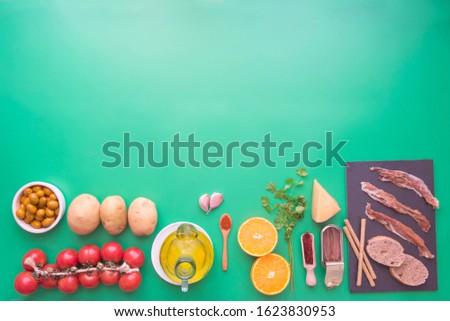 Typicals ingredients of spain top view
