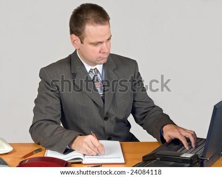 typing businessman