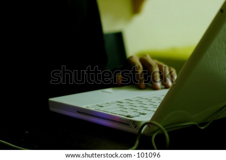 Typing computer  - working at night