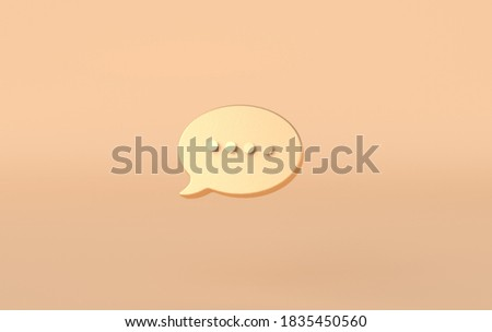 Typing in a chat golden bubble icon on beige background. 3d rendering comment sign, social media symbol.  Stock photo ©
