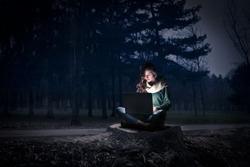 typing in the woods
