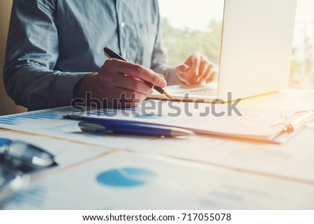 Typing laptop  Business Man working with blank screen Planning Strategy  Analysis  Concept