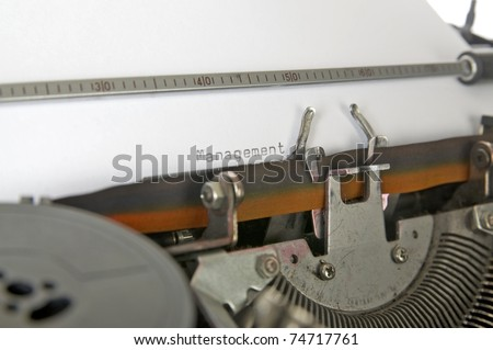 Typing management on the paper, type with typewriter