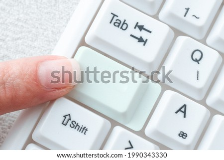 Typing New Edition Informational Ebook, Creating Fresh Website Content, Internet Chatting Browsing Activities, Connecting People Globally, Learning Computer Knowledge Photo stock ©