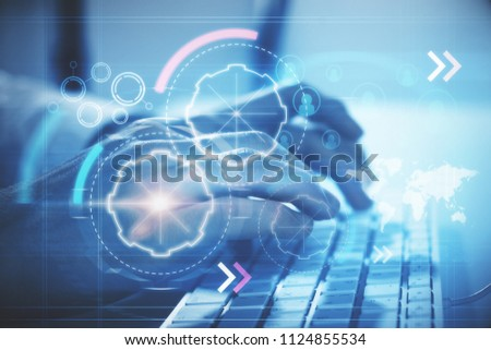 typing on keyboardhand and digital cyberspace illustration with icons. 3D render #1124855534