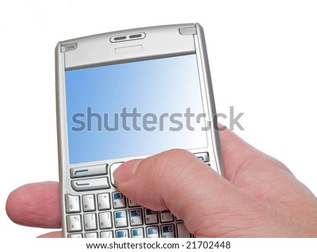 typing on personal digital assistant with empty frame isolated on white