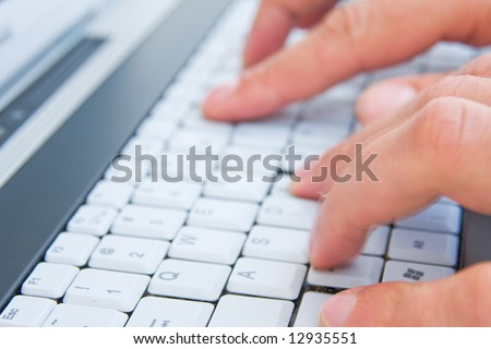 typing on the notebook keyboard