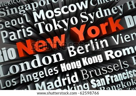 Typografische Darstellung von Weltst?dten mit Fokus auf New York City