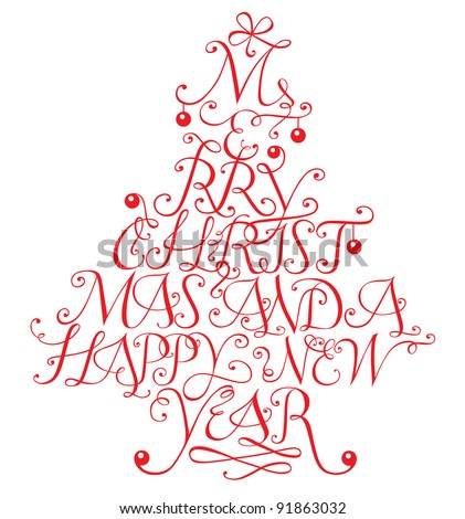 Typographic composition in shape of a christmas tree. Vector version also available in my portfolio.