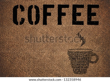 Typographic symbol cup of coffee printed on burlap