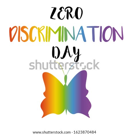 Typography poster for Zero Discrimination Day on 1 March  Illustration. UN Holidays. Human rights concept.