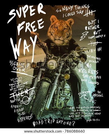 Typography with tiger riding a bike photo for t shirt printing, Graphic t shirt & Printed t shirt