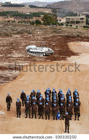 TYR, LEBANON-OCTOBER 21: Unidentified Turkish UN Soldiers on patrol on October 21, 2006 in Tyr, Lebanon.
