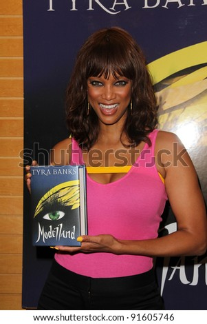 "Tyra Banks at an in-store signing of her new novel ""Modellad,"" Barnes & Noble, Santa Monica, CA. 09-14-11 - stock photo"