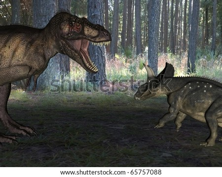 tyrannosaur attack - stock photo