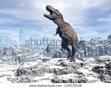 Tyrannosaurus dinosaur walking and shoutinf in snowy landscape