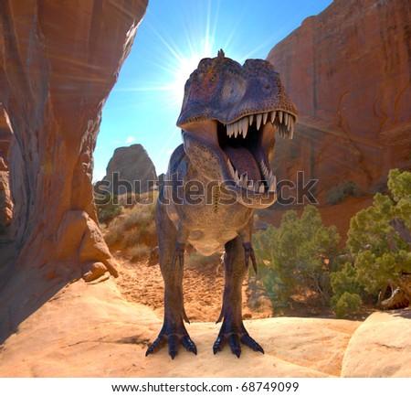 tyrannosaurus in the rocks