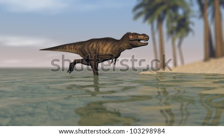 tyrannosaurus on shore
