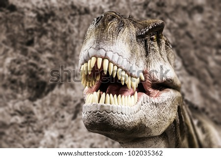 Tyrannosaurus - prehistoric era dinosaur showing his toothy mouth