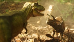 Tyrannosaurus rex dinosaurs is fighting Triceratop in a misty forest. on nature background. closeup dinosaur and monster model .