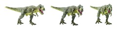 Tyrannosaurus Rex figurine isolated on white. Side view of a fierce T-Rex dinosaur. Tyrannosaurus was a bipedal carnivore with a massive skull. Exist before the Cretaceous-Paleogene extinction event.