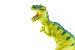 Tyrannosaurus rex plastic toy isolated on white background.