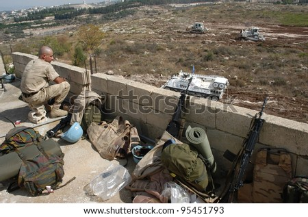 TYRE, LEBANON-OCTOBER 18:Unidentified UN soldier on patrol on October 18, 2006 in Tyr, Lebanon
