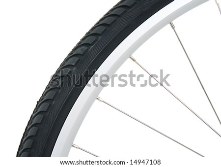 Tyre of a bicycle wheel, isolated on white.