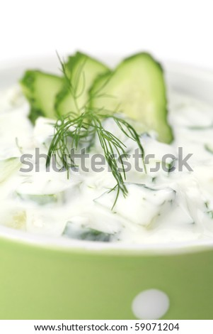 Tzatziki - Greek yogurt sauce with cucumbers, dill and garlic, known as tarator or snezhanka in Bulgaria or zaziki in Turkey. Shallow DOF